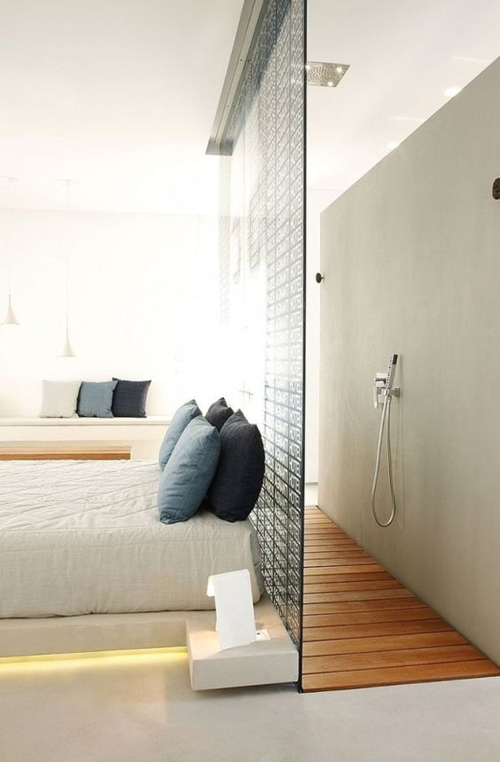 walk in shower without door in bedroom