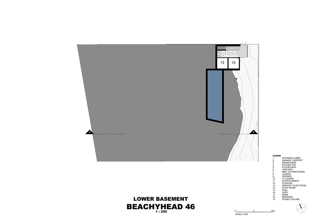 Floor plan of modern home with wooden facade by SAOTA