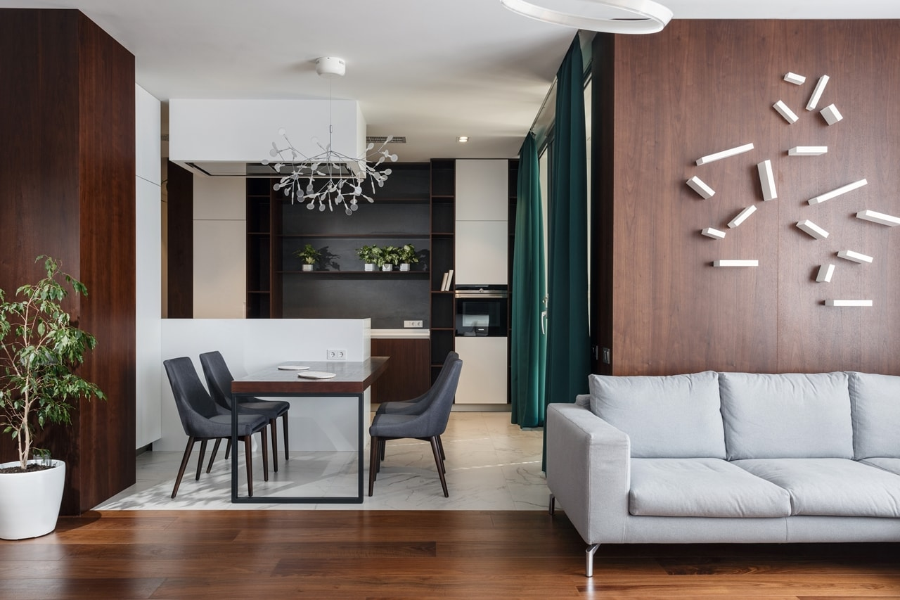 Wood texture in modern apartment interior design by SVOYA