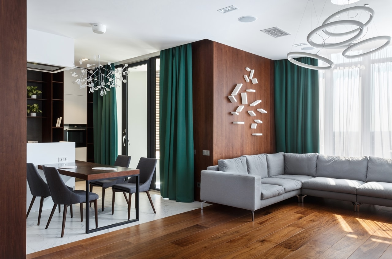 Green curtains in living room by SVOYA