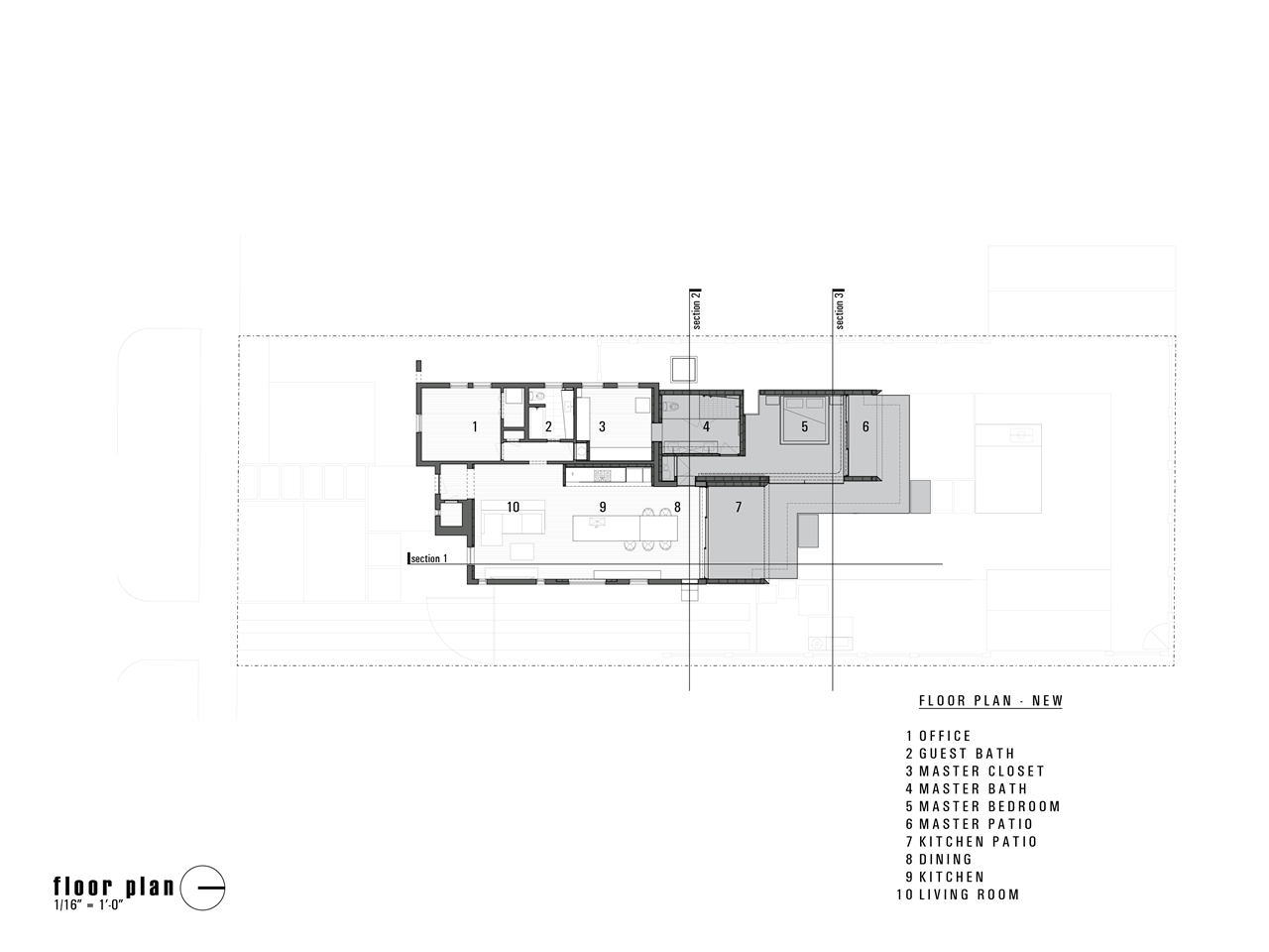 Small modern home renovation floor plan by Chen + Suchart Studio