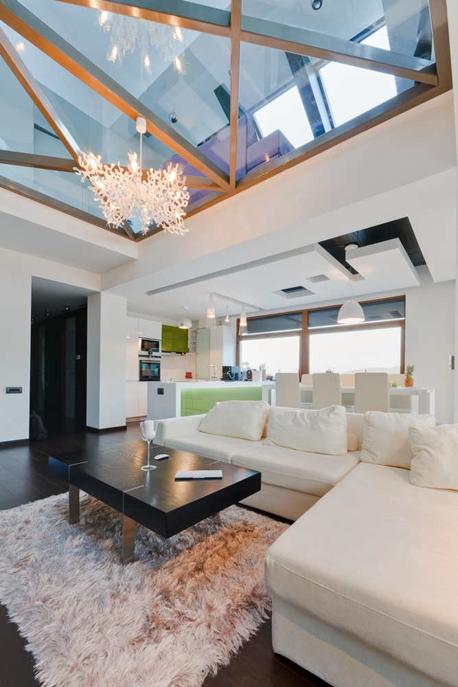 Modern living room with glass floor above it
