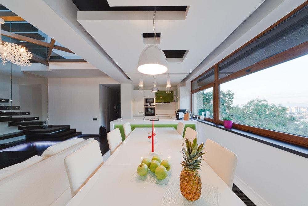 Modern dining room in triplex apartment