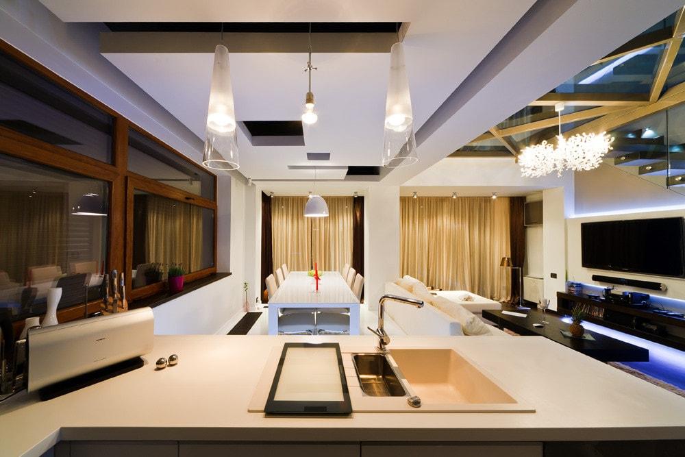 Kitchen in modern triplex apartment