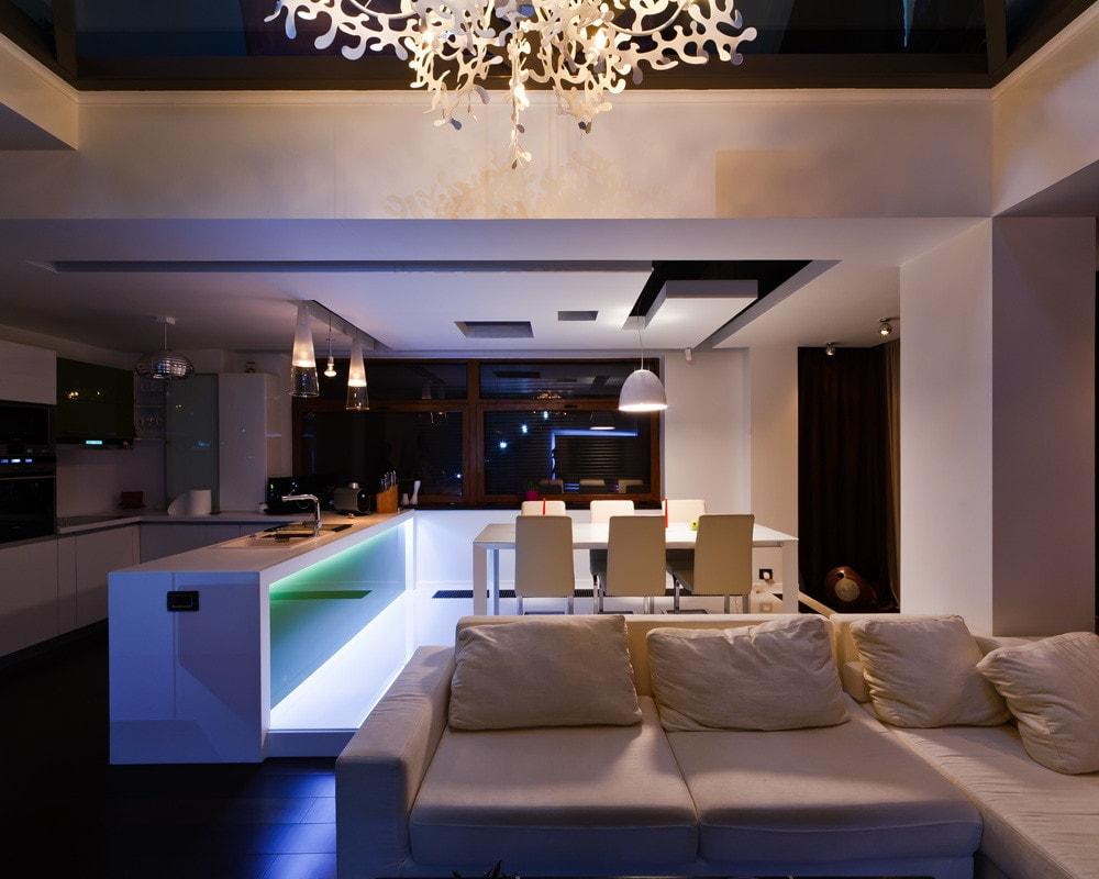Modern triplex apartment interior at night