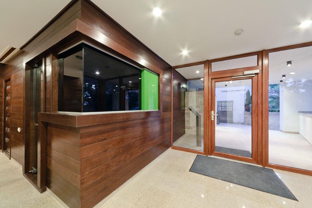 Entrance to the modern triplex apartment