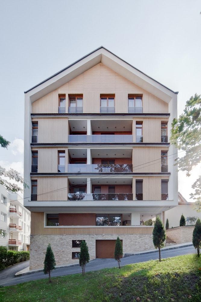 Facade of modern triplex apartment