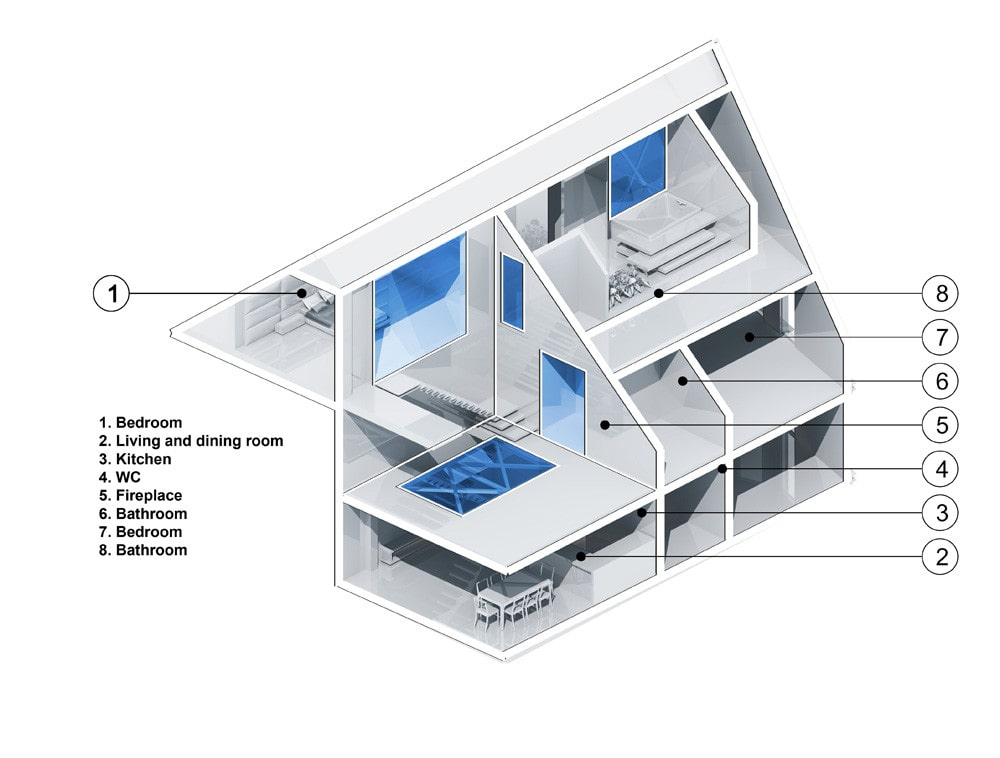 Triplex apartment illustration