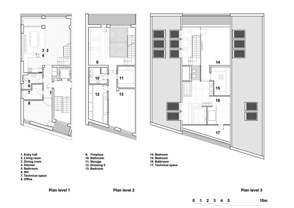 Floor plans of modern triplex apartment with glass floor design