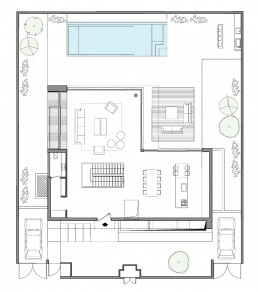 Ground floor plan of simple modern home by Sachar-Rozenfeld Architects