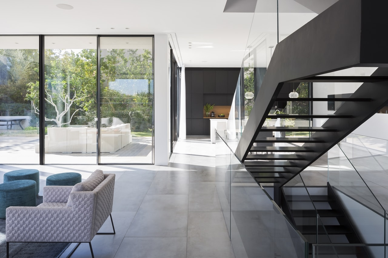 Floating stairs and part of modern living room
